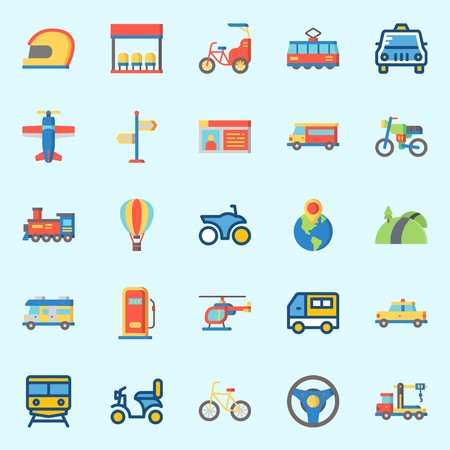 Icons set about transportation with steering wheel, plane, locomotive, road, tram and motorbike.