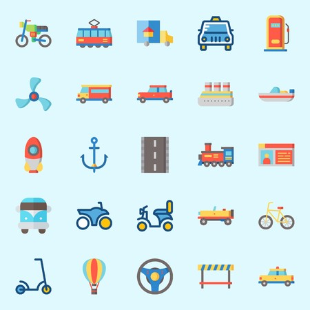 Icons set about transportation with locomotive, road block, gas station, taxi, anchor and tram.