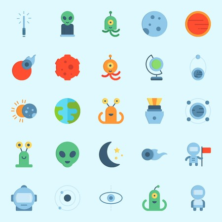 icons set about Universe. with capsule, mars, orbit, comet, earth glope and astronaut