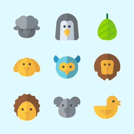 Icons about Animals with cocoon, owl, lion, koala, sheep and hedgehog
