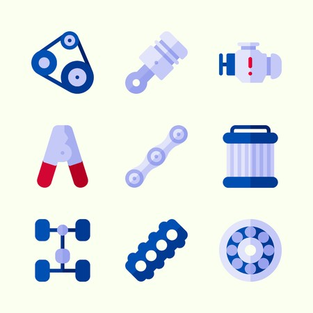 Icons about Car Engine with motor, pulley, pilers, chassis, wheel and chain Illustration