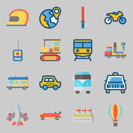 Conjunto de iconos sobre transporte. con moto, todo terreno y grúa Ilustración de vector