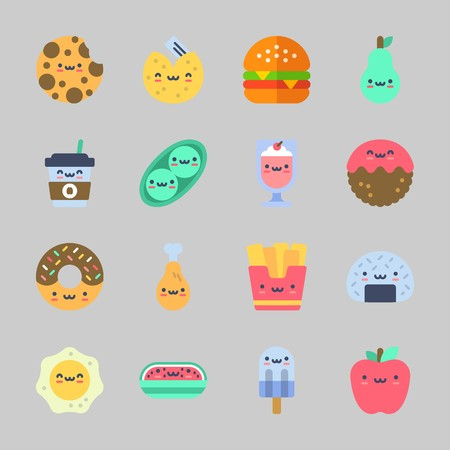 Icons about Food with donut, apple, coffee cup, chicken leg, popsicle and watermelon Standard-Bild - 98211536