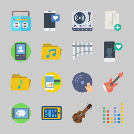 Icons about Music with electric guitar, spanish guitar, guitar, turntable, dj and smartphone