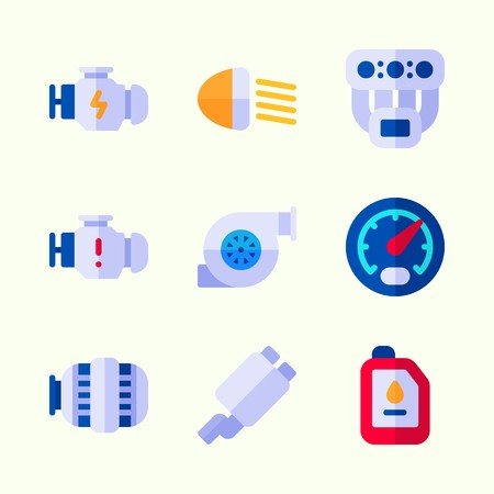 Icons about Car Engine with oil, manifold, motor, engine, car lights and gauge