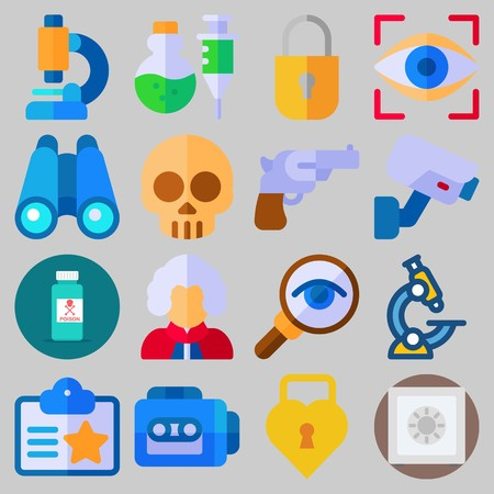 Icon set about Crime Investigation with keywords judge, skull, tape recorder, revolver, microscope and padlock Illustration