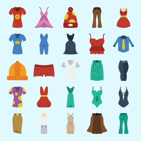 icons set about Women Clothes. with suit, dress, pants, skirt, pijamas and sleeveless Stock Illustratie