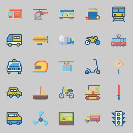 icons set about Transportation. with cable car, motorbike, stick, road sing, helmet and train