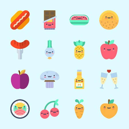 Icons about Food with carrot, sushi, toast, cherry, scallion and chocolate 向量圖像