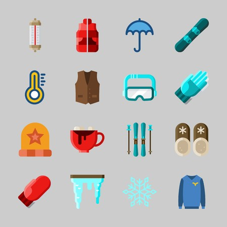 Icons about Winter with ski, slippers, snowflake, icicle, goggles and snowboard Vettoriali