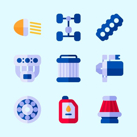 Icons about Car Engine with oil, air filter, manifold, pulley, chassis and starter