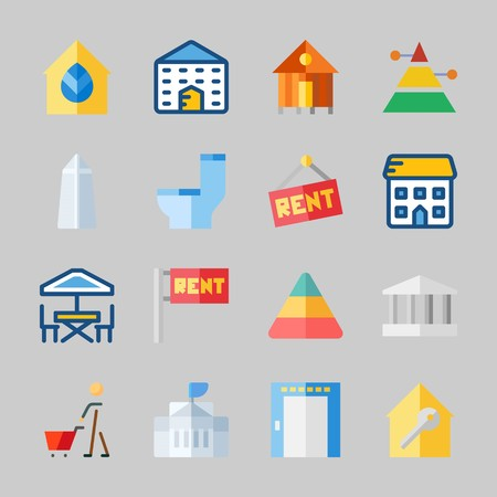 Icons about Construction with for rent, elevator, terrace, school, pyramid and rent Иллюстрация