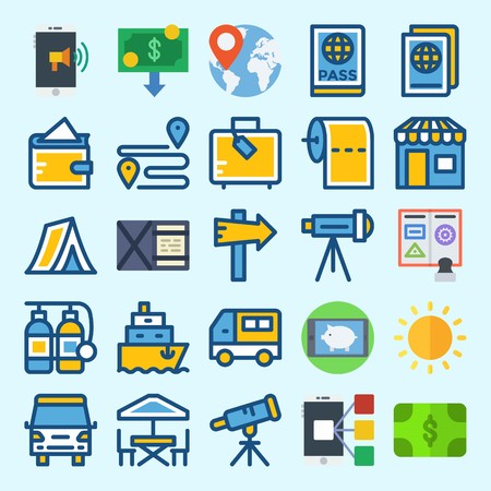 icons set about Travel. with toilet paper, suitcase, shop, smartphone, location and terrace