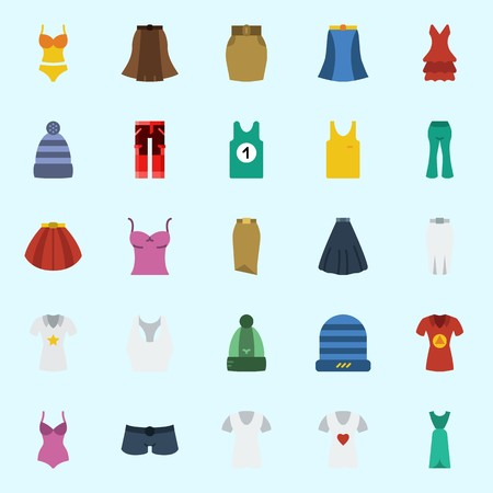 Icons set about Women Clothes with sleeveless, shorts, pants, winter hat, skirt and tank top Illustration