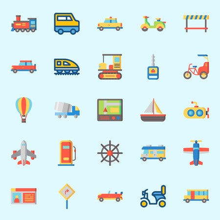 Icons set about transportation. with gas station, taxi, road block, GPS, train and motorbike. Illustration