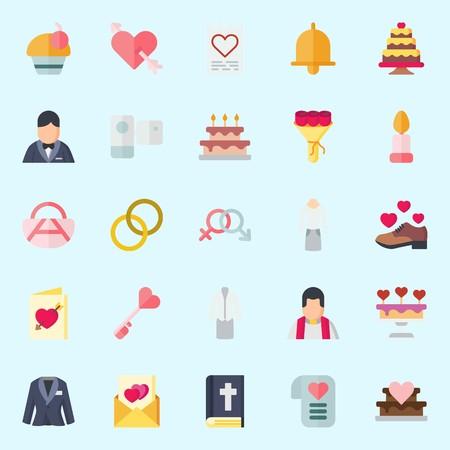 icons set about Wedding. with handbag, bible, cupid, wedding invitation, cupcake and wedding cake Illustration