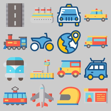 Icon set about transportation with keywords airport, driving license, taxi, motorbike, car and plane.