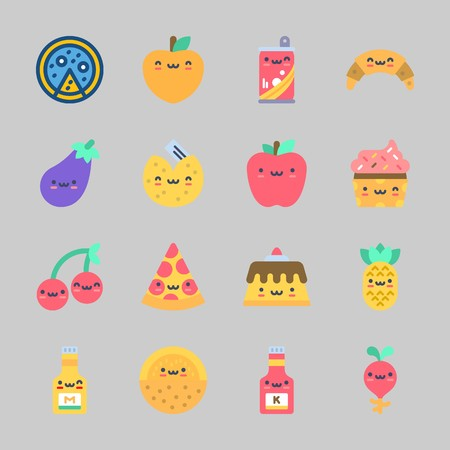 Icons about Food with apple, mustard, peach, pizza, ketchup and eggplant Standard-Bild - 98212492