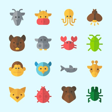Icons about Animals with bear, ladybug, beetle, cockroach, goat and firefly Illustration
