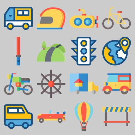Icon set about Transportation with keywords hot air balloon, submarine, motorbike, truck, sport  car and helmet