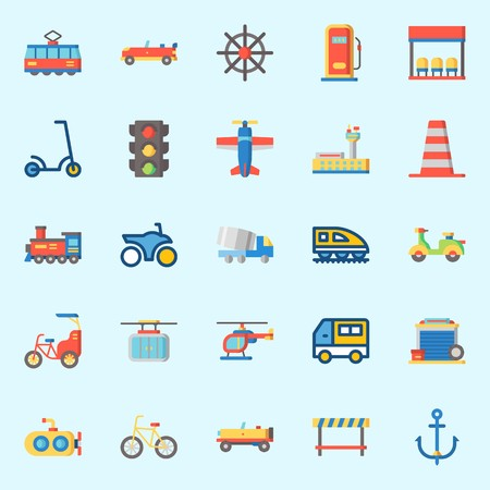 icons set about Transportation. with bus stop, garage, truck, cone, cable car and van Ilustração