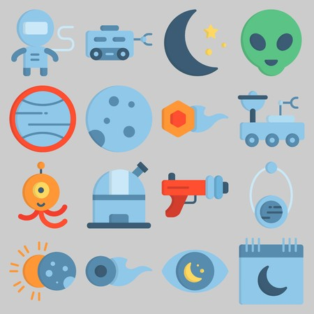 Icon set about Universe with keywords alien, orbit, observatory, comet, blaster and calendar