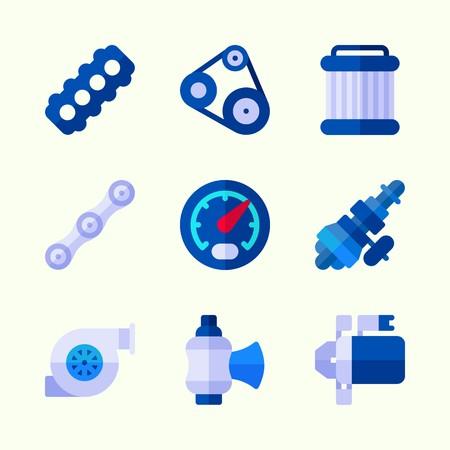 Icônes sur le moteur de voiture avec ceinture, chaîne, démarreur, distribution, jauge et soupape.