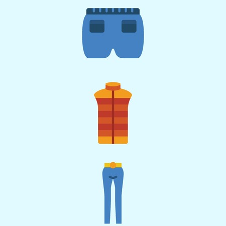 Icons about man clothes with vest, trousers and short.