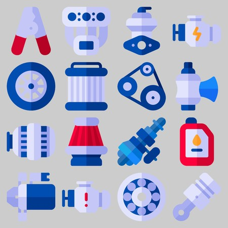 Icon set over automotor met trefwoorden olie, motor, distributie, katrol, wiel en pilers Stock Illustratie