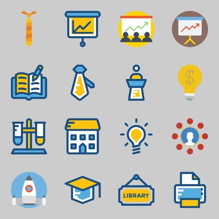 Icons set about School And Education. with open book, startup and missile