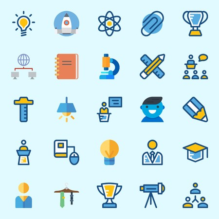 Icons about School And Education with pencil, telescope, online education, trophy, missile and utensils