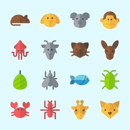 Icons about animals with cocoon, ant, squid, giraffe, mosquito and fish.