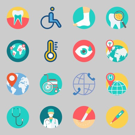 Icons set about medical with teeth, visibility and location.
