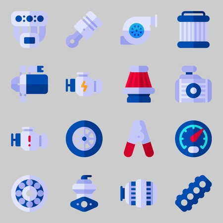 icons set about Car Engine. with wheel, pilers, engine, starter, piston and manifold Illustration