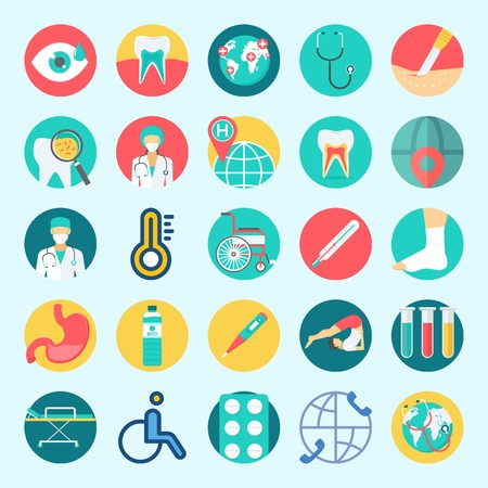 Icons set about Medical with wheelchair, yoga, tooth, test tubes, water and teeth