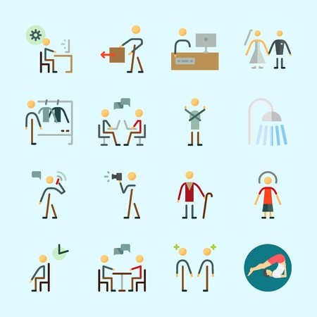 Icons about Human with waiting room, programmer, male, yoga, elder and man