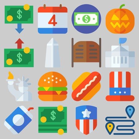 Icon set about United States with keywords hamburger, statue of liberty, independent day, hat, soda and white house Illustration