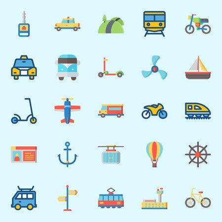 icons set about Transportation. with motorbike, tram, sail boat, taxi, bicycle and anchor Illustration