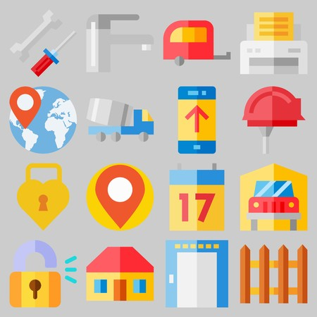 Icon set about real assets with keywords printer, transportation, up, mechanics, elevator and worldwide.