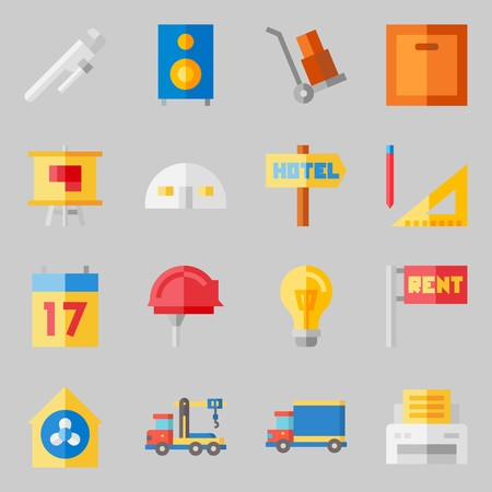 Icons set about Real Assets. with turned off, reparation and worker Illustration