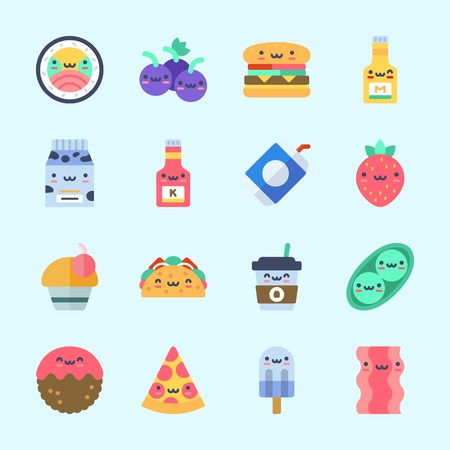 Icons about Food with meatball, strawberry, taco, bacon and cupcake. Çizim