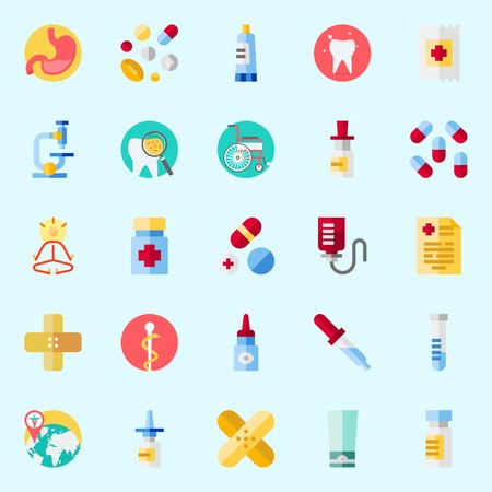 Icons set about Medical with pharmacy, wheelchair, medical result, pipette, pills and tooth