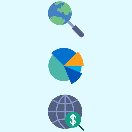 Icons About Marketing With Search Internet And Pie Chart Royalty