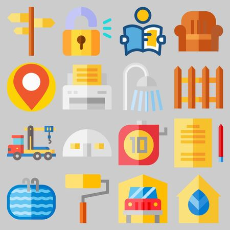 Icon set about Real Assets with keywords real estate, shower, truck, maps and flags, store house and paint roller