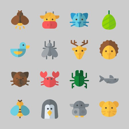 Icons about Animals with cat, penguin, duck, firefly, tiger and crab