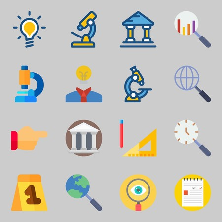 Icons set about Inspiration. with search, measuring and evidence