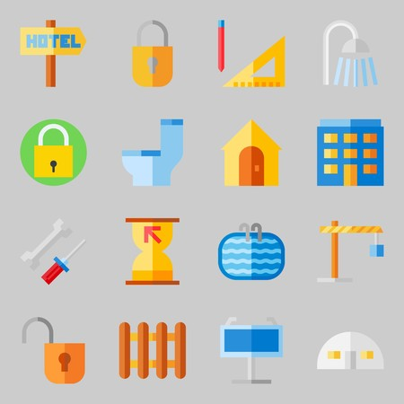 Icons set about Real Assets. with radiators, shower and wc