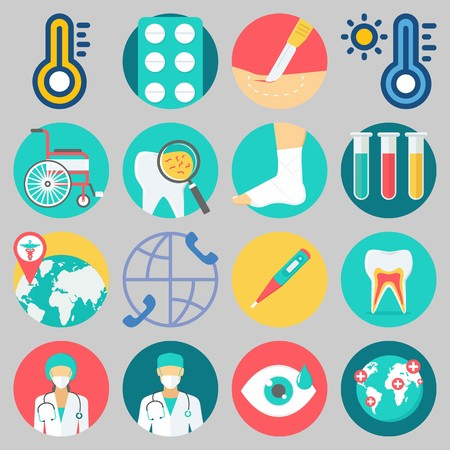 Icon set about Medical with keywords worldwide, tablets, surgery, visibility, wheelchair and thermometer