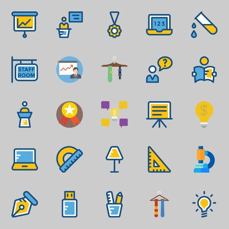 Icons set about school and education with lamp, studying, tie, presentation, medal and idea.