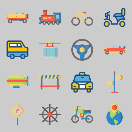 Icons set about Transportation. with van, taxi and road sing